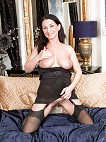 Cock starved mommy in hot lingerie plays with her juicy hairy pussy